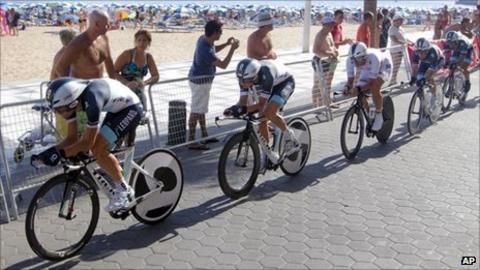 Leopard Trek (with Cancellara third from left) set the pace in Benidorm