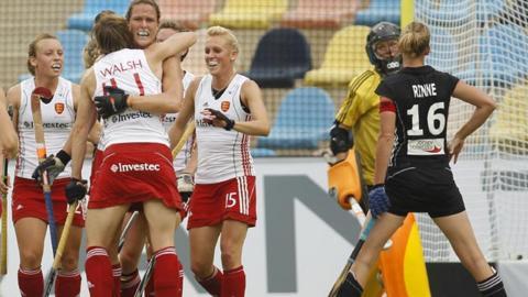 England celebrate Crista Cullen's winner