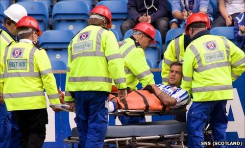 Kilmarnock defender Ryan O'Leary is stretchered off injured during the 0-0 draw with Hearts