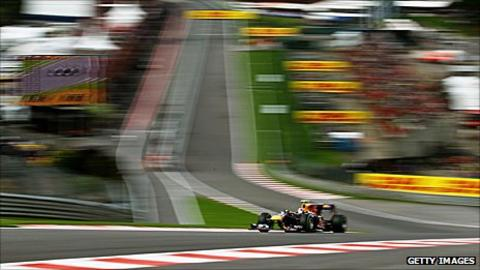 Mark Webber drives through Eau Rouge at the Belgian Grand Prix