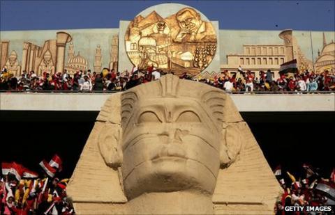 A sphinx decorates the interior of the Cairo International Stadium