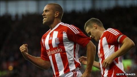 Matthew Upson (left) celebrates scoring for Stoke against FC Thun