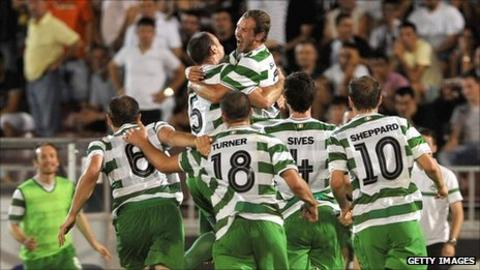 Shamrock Rovers players celebrate their win in Belgrade