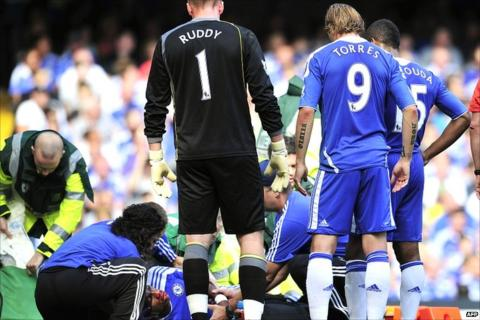 Didier Drogba receives treatment