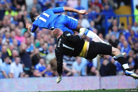 Didier Drogba collides with John Ruddy