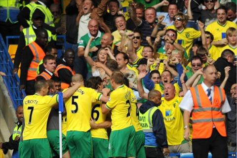 Norwich celebrate their equaliser at Chelsea