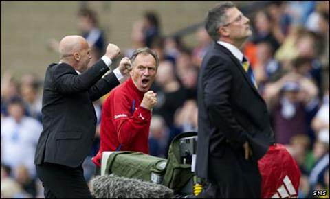 Craig Levein (right) is left disappointed