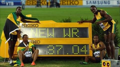 The Jamaican quartet with their new world record time for the 4x100m relay