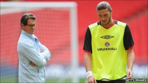Andy Carroll (right) and Fabio Capello