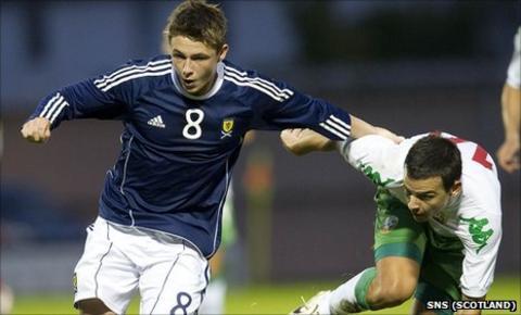 Scotland's Scott Allan (left) is persued by Plamen Donev