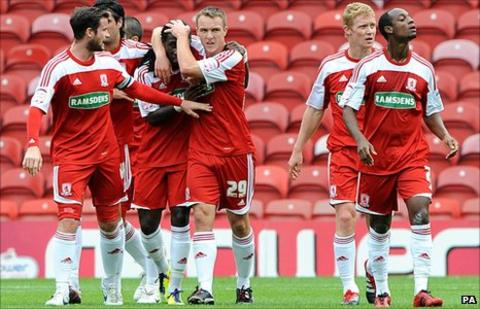 Marvin Emnes celebrates scoring with Middlesbrough team-mates