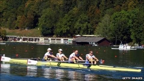 Pamela Relph, Naomi Riches, David Smith, James Roe and Lily Van Den Broecke of Great Britain compete in the adaptive rowing heats during the FISA Rowing World Championships at Lake Bled on August 29, 2011.