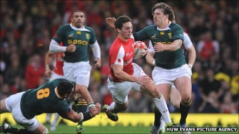 Wales wing George North tests the South Africa defence in last November's Test