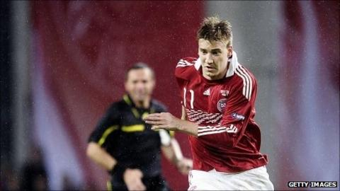 Nicklas Bendtner in action for Denmark
