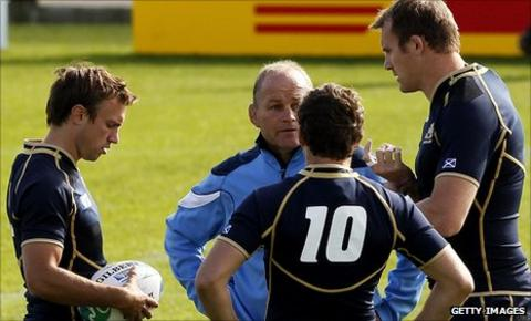 Andy Robinson passes on his thoughts in Scotland training