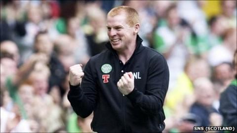 Celtic manager Neil Lennon shows his delight at his team's performance