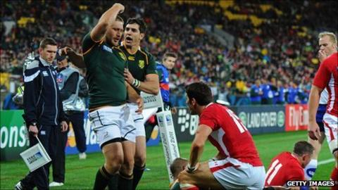 Frans Steyn celebrates his opening try against Wales