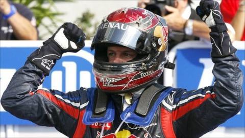 Sebastian Vettel celebrates in Monza