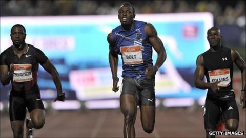 Usain Bolt (centre) wins the 100m in Zagreb