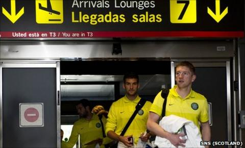 Celtic have arrived in Madrid for Thursday's Europa League match