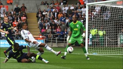 Scott Sinclair fails to make the most of an opening against Wigan Athletic