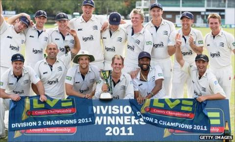 Middlesex celebrate winning the Division Two title