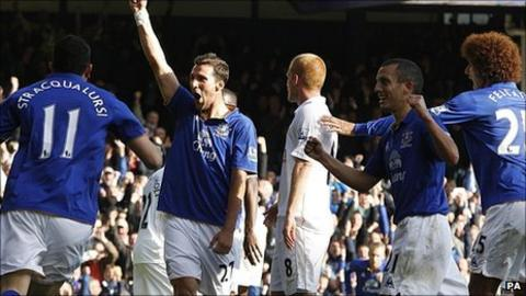 Everton's Apostolos Vellios (centre) celebrates scoring his side's second goal