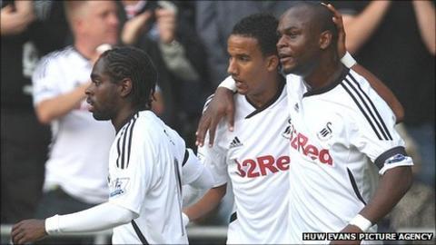 Nathan Dyer, Scott Sinclair and Leroy Lita were Swansea's three goal-scorers