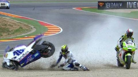 Karel Abraham crashes out