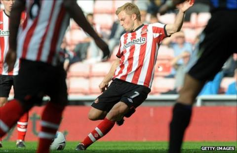 Sebastian Larsson strikes a free-kick against Stoke City