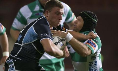 Glasgow stand-off Duncan Weir scored a first-half try at Firhill