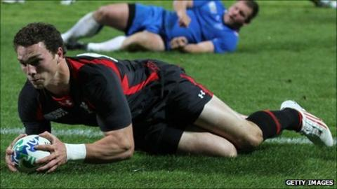 George North scores against Namibia