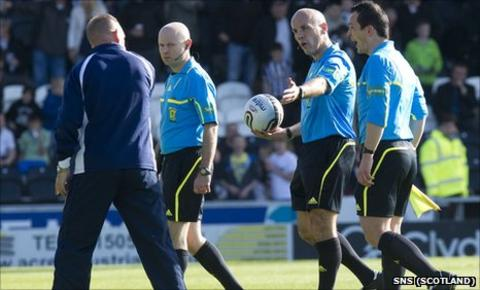 Kenny Shiels (left) confronts match officials at St Mirren Park