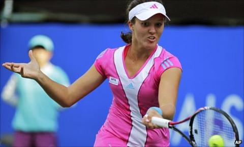 Laura Robson in action at the Pacific Open in Tokyo