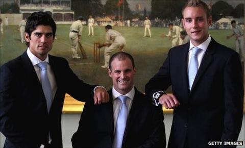 England one-day captain Alastair Cook, Test captain Andrew Strauss and Twenty20 captain Stuart Broad