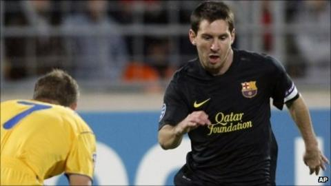 Lionel Messi (right) was on the mark for Barcelona