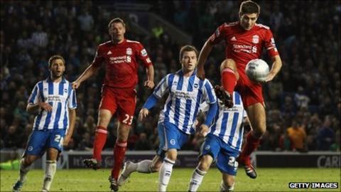 Steven Gerrard playing against Brighton