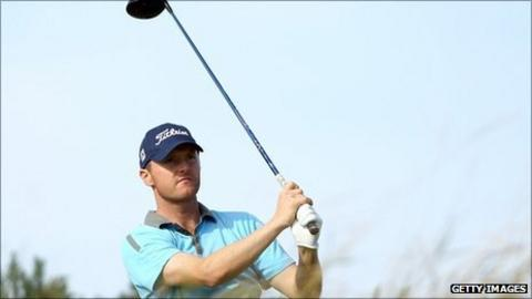Michael Hoey drives off at the six hole at Kingsbarns on Friday