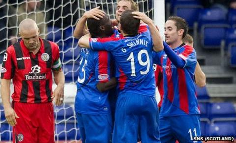 Inverness celebrate Gregory Tade's match-winning goal against St Mirren