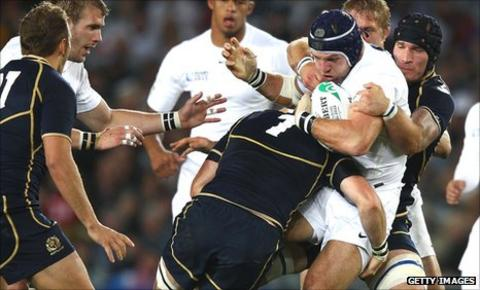 James Haskell is hammered back by the Scottish defence on Saturday