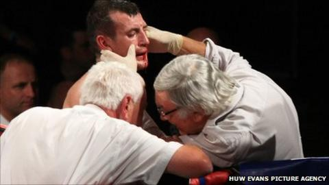 Derry Matthews is examined by medical staff