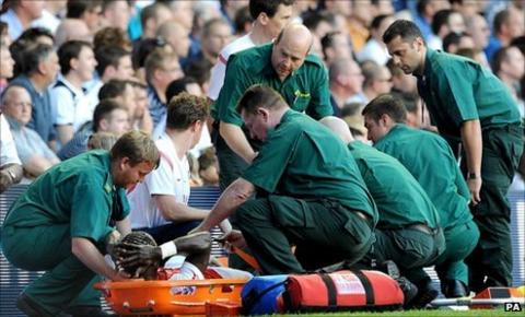 Bacary Sagna was stretchered off at White Hart Lane
