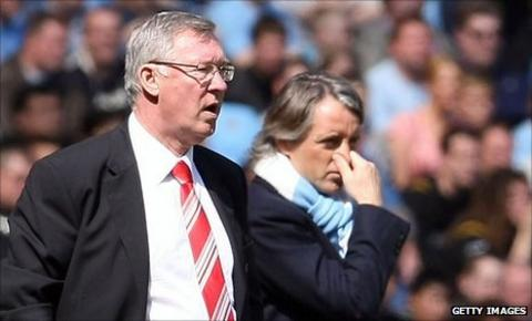 Sir Alex Ferguson (left) and Roberto Mancini (right)