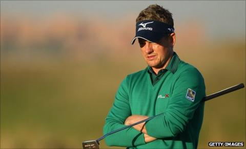 Luke Donald in action on day one of the Madrid Masters