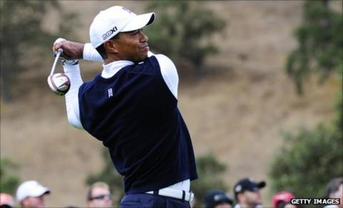 Tiger Woods taking part in the Frys.com open at CordeValle Golf Club