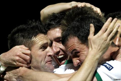 Irish players celebrate