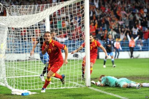 Andrija Delibasic scores for Montenegro