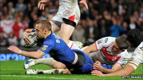 Rob Burrow scores a try for Leeds in the Grand Final