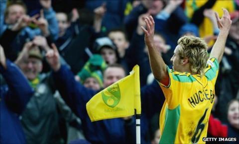 Darren Huckerby celebrates scoring for Norwich City
