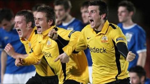 Glenavon celebrate their win over Linfield